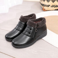 2018新款冬妈妈棉鞋女鞋中老年皮鞋加绒保暖老北京雪地靴短靴 A66黑色 35