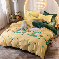 加厚法兰绒网红床单四件套棉纯棉秋冬季保暖珊瑚绒被套床上用品 大眼龙 黄