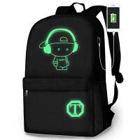 夜光书包男女双肩背包初中小学生书包时尚潮流青年电脑旅行包