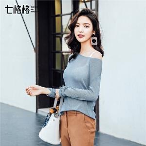 打底毛衣女生长袖2018春季新款韩版宽松性感百搭套头漏锁骨针织衫