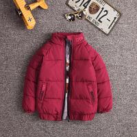 儿童处理冬装女童冬季棉衣外套男童宝宝衣服加厚羽绒 酒红色 立领