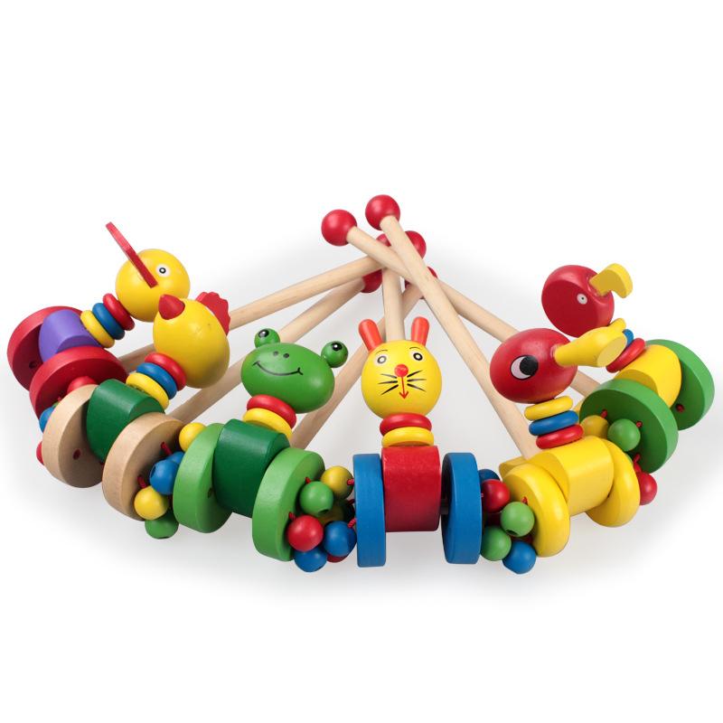 木制卡通动物小推车 儿童益智推拉动物学步玩具