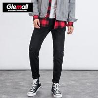 森马旗下潮牌GLEMALL 破洞牛仔裤男直筒长裤青年时尚街头嘻哈风 牛仔黑