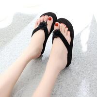 新款拖鞋女夏时尚外穿坡跟凉拖鞋韩版防滑厚底人字拖海边沙滩拖鞋 34 女款