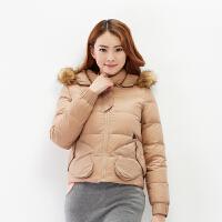【2件3折价99.5元】唐狮羽绒服冬装新品女素色手形口袋短款