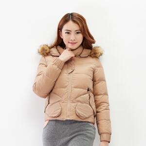 【2件3折价179.7元】唐狮羽绒服冬装新品女素色手形口袋短款