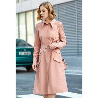 【预估价228元】Amii极简气质chic法式复古连衣裙女2019秋季新脏粉配腰带衬衫裙