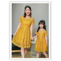 新款亲子装蕾丝连衣裙韩版夏季修身显瘦公主裙子潮母女装夏装可礼品卡支付