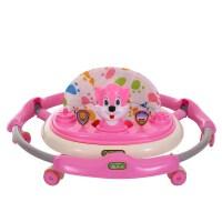 婴儿学步车静音轮可折叠6-18个月防侧翻带音乐多功能宝宝车带推把