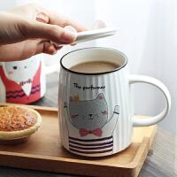 马克杯 卡通猫咪条纹陶瓷带盖马克杯2019新款办公室早餐杯个性咖啡杯大容量牛奶杯子