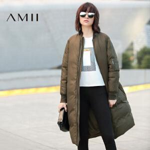 AMII[极简主义]冬新纯色双层立领拉链中长大码羽绒女11682371