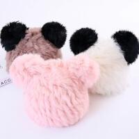 儿童秋冬季兔毛韩版女童保暖皮草帽子男童女童可爱熊猫甜美耳朵帽