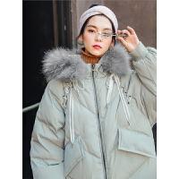 七格格大毛领羽绒服女中长款2018新款冬季学生韩版宽松白鸭绒外套