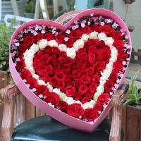 大号爱心形礼品盒情人节99朵玫瑰礼盒心形纯色丝带鲜花包装盒