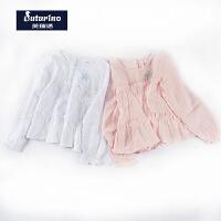 【满200减110】芙瑞诺童装女童秋装精致刺绣清新海洋风棉麻长袖衬衫
