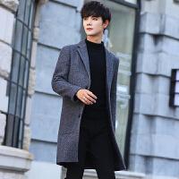 2018秋冬毛呢大衣男中长款青年条纹加厚帅气潮流男士羊毛呢子外套