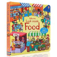 英文原版绘本 Usborne Look inside Food 看里面系列 食物 科普立体翻翻书 儿童启蒙早教认知读物