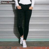 美特斯邦威牛仔裤女士秋冬装韩版破洞紧身休闲小脚长裤子学生潮