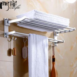 门扉 毛巾架 家居卫浴用品整理收纳方便简约浴巾架毛巾架子壁挂式卫生间浴室双杆收纳挂件加厚置物架