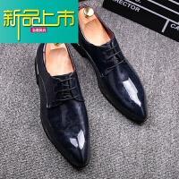 新品上市时尚尖头皮鞋男韩版青年商务休闲正装婚鞋英伦型师漆皮亮皮男鞋