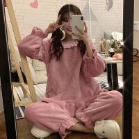 秋冬女装新款韩版甜美可爱加厚毛绒长袖睡衣两件套家居服套装