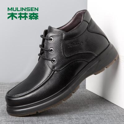 木林森男鞋冬季新款商务休闲男靴休闲高帮鞋男士头层牛皮英伦时尚短靴子78054003