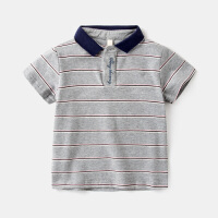 男童短袖T恤儿童POLO衫纯棉3岁宝宝条纹韩版上衣半袖体恤小童夏装