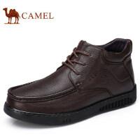 camel 骆驼男鞋秋冬保暖舒适高弹真牛皮加绒高帮商务靴子