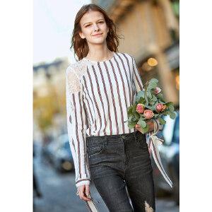 【到手价:129.9元】Amii极简欧货洋气衬衫2019早春新款很仙的蕾丝上衣条纹绣花打底衫