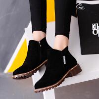 2018春秋季新款欧美女短靴马丁靴冬磨砂粗跟中跟休闲百搭学生女鞋 黑色 单靴