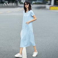 【AMII 超级品牌日】Amii[极简主义]夏装2017新款女百搭显瘦休闲V领T恤连衣裙11762111