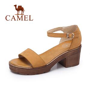 camel骆驼女凉鞋 夏季新品时尚复古凉鞋女 简约复古高跟凉鞋
