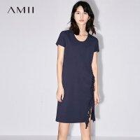 【AMII 超级品牌日】Amii[极简主义]2017夏新品气质圆领流苏连衣裙 11762113