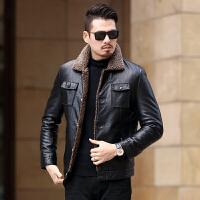 中年男士皮衣帅气修身男装冬季皮毛一体加绒加厚夹克外套爸爸冬装