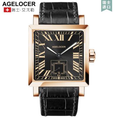 艾戈勒机械表全自动方形皮带男表真皮手表 时尚潮流男士腕表支持七天无理由退换 零风险购