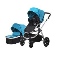 【当当自营】美国BabyRoo Letour Avant布艺系列高景观多功能轻便婴儿手推车精锐蓝银色架