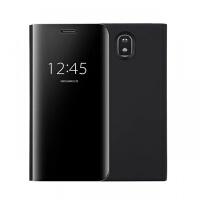 三星J7手机壳电镀镜面J6+智能休眠J4立式支架J5pro翻盖保护套