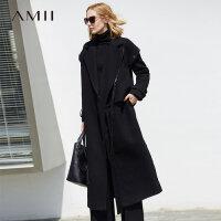 Amii极简赫本风时尚翻驳领羊毛毛呢外套女冬2018新袖袢中长款大衣