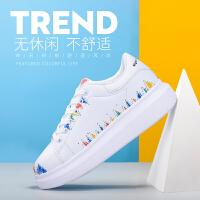奥古狮登2017秋季新款小白鞋女韩版百搭运动鞋女学生白色原宿女鞋涂鸦个性