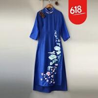 中国风刺绣连衣裙2018春夏女装新款美伦修身长裙改良奥黛旗袍裙女GH174