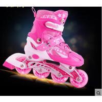 加厚内胆透气精美图案旱冰鞋滑冰鞋可调闪光溜冰鞋儿童全套装男女直排轮轮滑鞋