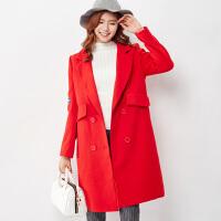 [2件3折价119.5元包邮】唐狮冬装新款呢大衣女宽松呢大衣