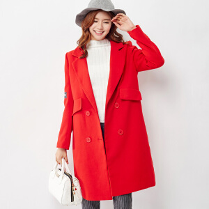 【2件3折价199.8元】唐狮冬装新款呢大衣女宽松呢大衣