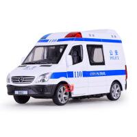 儿童仿真合金救护车模型120救护车回力奔驰110警车玩具车
