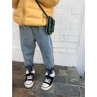 女童牛仔裤秋冬儿童复古长裤宝宝裤子