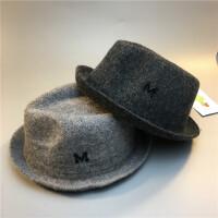儿童羊毛爵士帽春秋冬男童羊毛呢子帽子宝宝英伦绅士M小礼帽