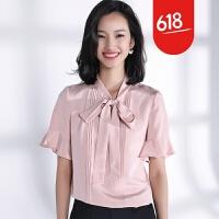 夏新品飘带重磅真丝短袖衬衫2018春夏新款女装桑蚕丝上衣YS01 粉红色