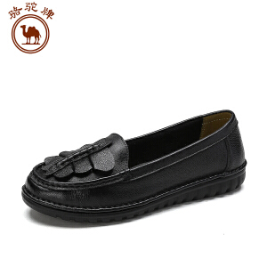 骆驼牌女鞋 新品 时尚牛皮低跟舒适休闲单鞋子女士套脚低帮鞋