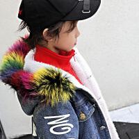 男童外套牛仔冬装中大儿童中长款大衣