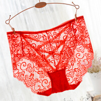 大码蕾丝镂空火辣中腰女士三角裤透明内裤女 红色 大红
